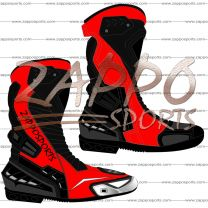 Zappo Red Black Motorcycle Leather Race Boot