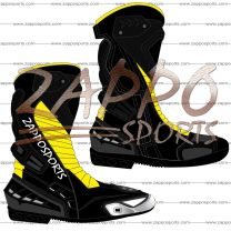 Zappo Black Yellow Motorcycle Leather Race Boot