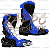 Zappo Blue White Motorcycle Leather Race Boot