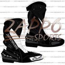 Zappo Black White Motorcycle Leather Race Boot