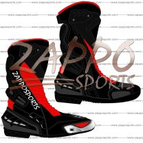 Zappo Black Red Motorcycle Leather Race Boot