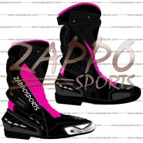 Zappo Black Pink Motorcycle Leather Race Boot