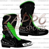 Zappo Black Green Motorcycle Leather Race Boot