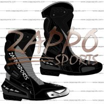Zappo Black Gray Motorcycle Leather Race Boot