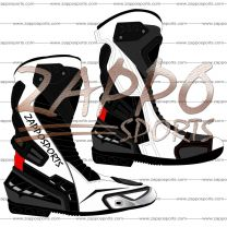 Zappo White Black Motorcycle Leather Race Boot